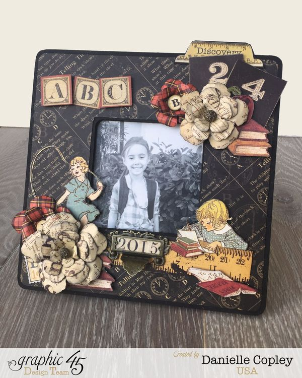 Back to School Altered Frame, ABC Primer, by Danielle Copley, Product by Graphic 45, Photo 1