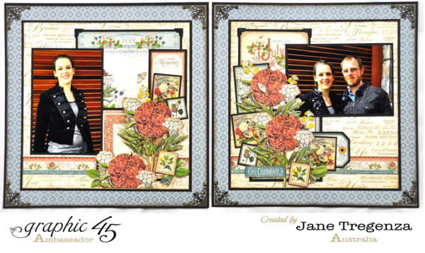 July Double Layout using Time to Flourish by Jane #graphic45