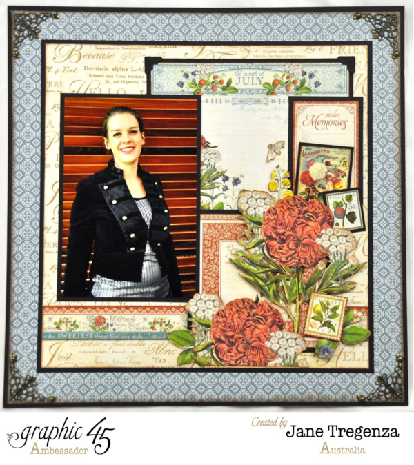 Left side of the July Double Layout using Time to Flourish by Jane #graphic45