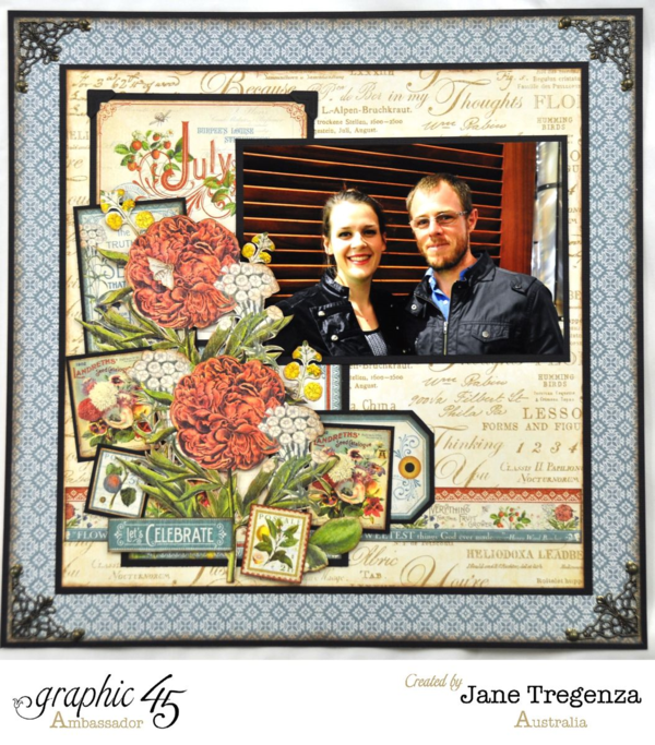 Right side of the July Double Layout using Time to Flourish by Jane #graphic45