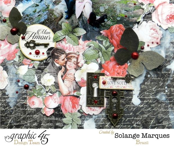 Mon'amour layout by Solange Marques. Graphic 45 Mon'amour collection (1)