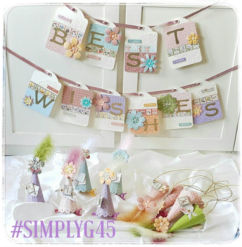 Try this simple party banner and hats with a tutorial by Belly! #simplyg45