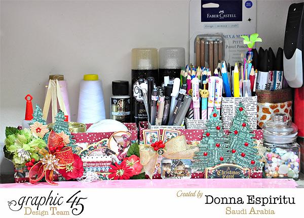 Donna's desk organizer using A Christmas Carol #graphic45
