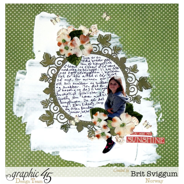 Petaloo blog hop layout using Children's Hour by Brit Sviggum #graphic45