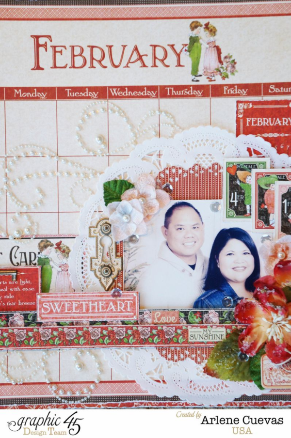 Arlene's Valentine's Day layout with Children's Hour and Petaloo flowers #graphic45