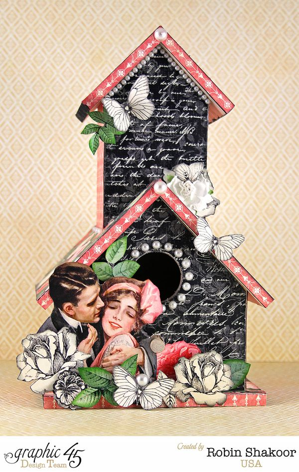 Altered Birdhouse, Mon Amour, by Robin Shakoor, Product by Graphic 45, Photo 1
