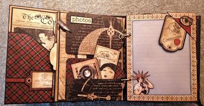 SCRAPBOOKING- GRAPHIC 45-MINI ALBUM-MIXED MEDIA-ALBUM- COMMUNIQUE-PAPER- LAMP-CLOCK-VINTAGE- CREATING-NEW- G45- IDEA-ANNESPAPERCREATIONS-CRAFT-ANNE ROSTAD- 13