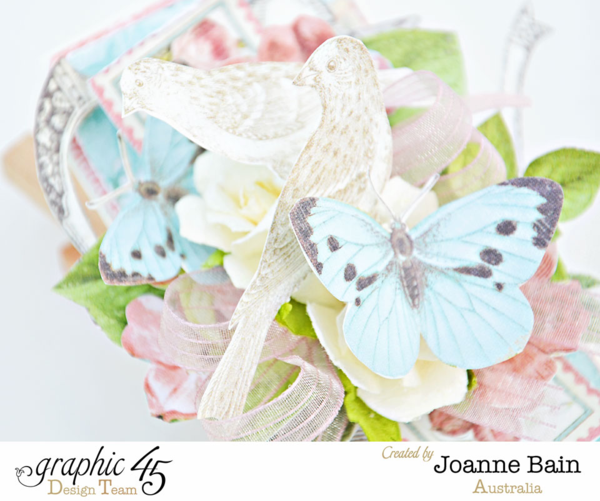 Beautiful Botanical Tea tag by Joanne using May Arts Ribbon #graphic45