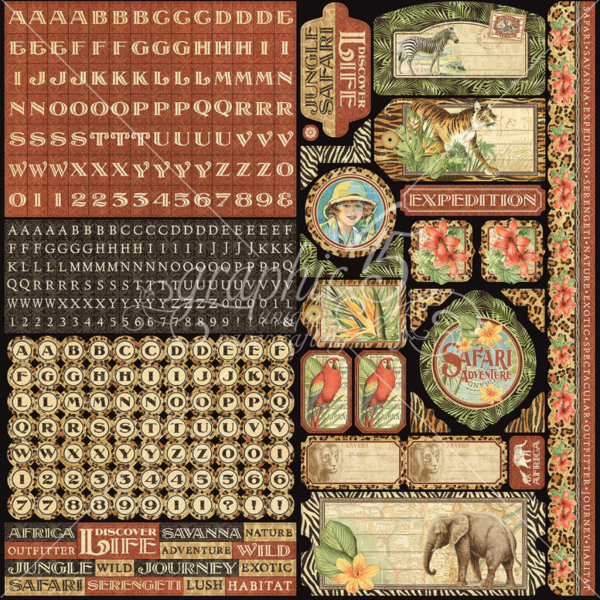 Cardstock stickers from Safari Adventure, a new collection from Graphic 45