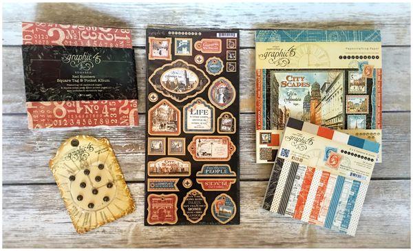 (2) Cityscapes, Square Tags & Pockets Album, Brads
