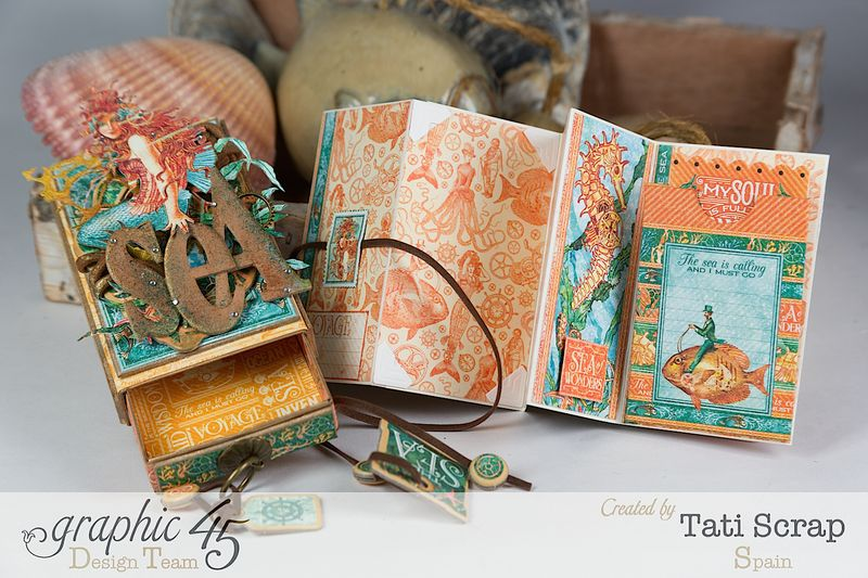 Tati,Voyage Beneath the Sea, Mini Album in a Matchbox , Product by Graphic 45, Photo 13