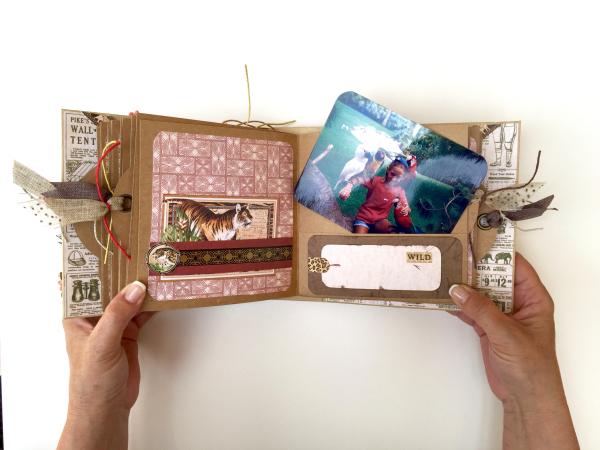 Square Tag&Pocket Travel Album Safari Adventure Tutorial by Marina Blaukitchen Product by Graphic 45 photo 23