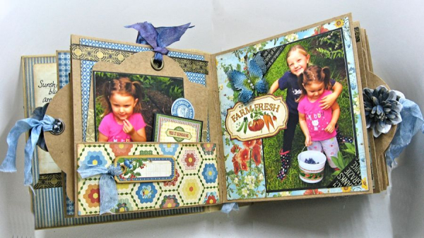 Blueberry Delight Mini Album Tutorial, Home Sweet Home, Staples Square Tag Album, by Kathy Clement, Product by Graphic 45, Photo 29