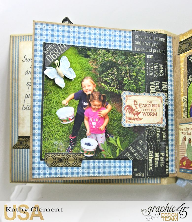 Blueberry Delight Mini Album Tutorial, Home Sweet Home, Staples Square Tag Album, by Kathy Clement, Product by Graphic 45, Photo 26