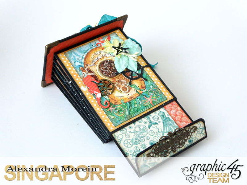 Voyage Beneath The Sea Top Load Mini Album, Tutorial by Alexandra Morein, Product by Graphic 45, Photo 12