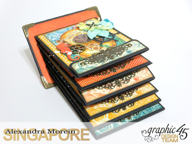 Voyage Beneath The Sea Top Load Mini Album, Tutorial by Alexandra Morein, Product by Graphic 45, Photo 10