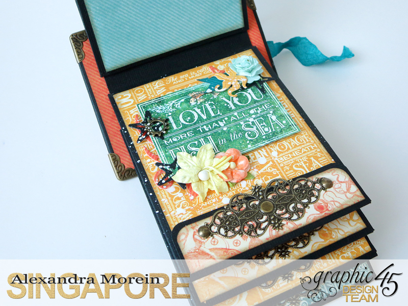 Voyage Beneath The Sea Top Load Mini Album, Tutorial by Alexandra Morein, Product by Graphic 45, Photo 16