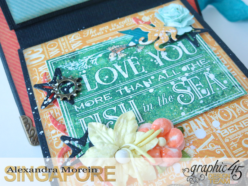 Voyage Beneath The Sea Top Load Mini Album, Tutorial by Alexandra Morein, Product by Graphic 45, Photo 17