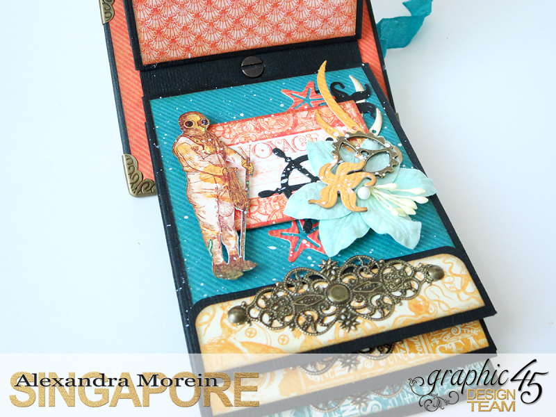 Voyage Beneath The Sea Top Load Mini Album, Tutorial by Alexandra Morein, Product by Graphic 45, Photo 18