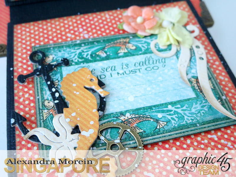 Voyage Beneath The Sea Top Load Mini Album, Tutorial by Alexandra Morein, Product by Graphic 45, Photo 23