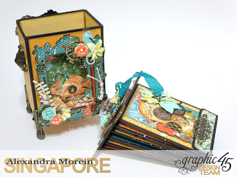 Voyage Beneath The Sea Top Load Mini Album, Tutorial by Alexandra Morein, Product by Graphic 45, Photo 5