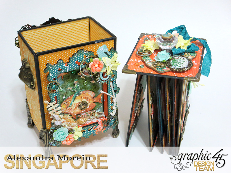 Voyage Beneath The Sea Top Load Mini Album, Tutorial by Alexandra Morein, Product by Graphic 45, Photo 6
