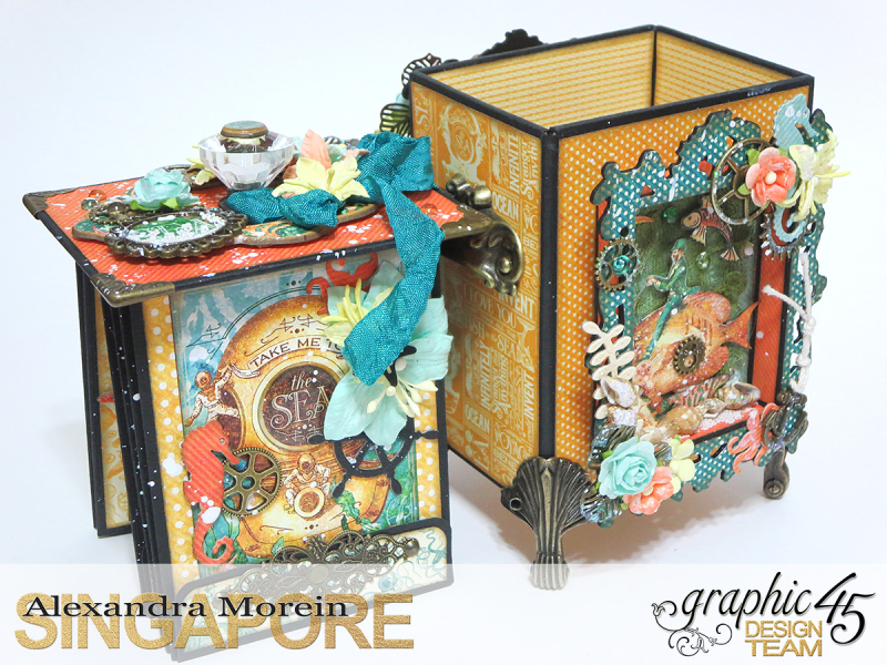 Voyage Beneath The Sea Top Load Mini Album, Tutorial by Alexandra Morein, Product by Graphic 45, Photo 7