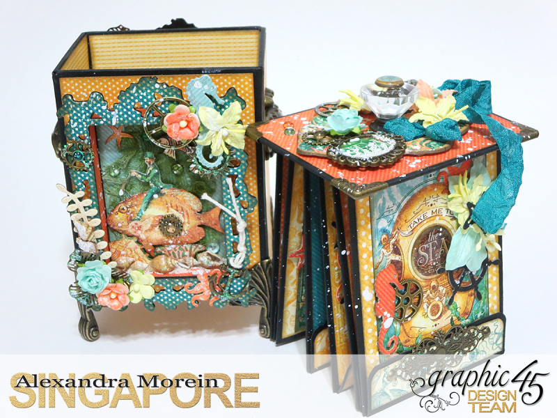 Voyage Beneath The Sea Top Load Mini Album, Tutorial by Alexandra Morein, Product by Graphic 45, Photo 8