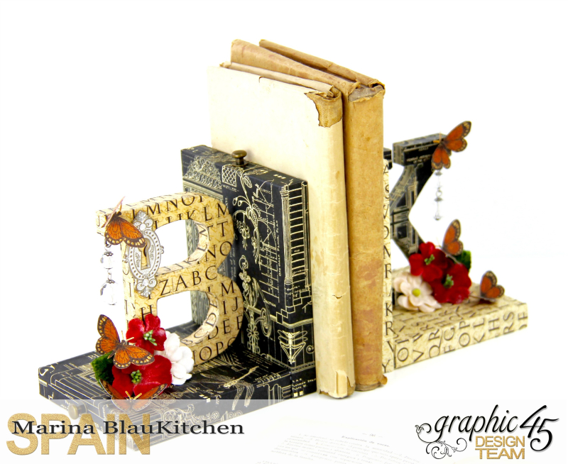 Upcycle  Bookend DIY Craft Paper Tutorial by Marina Blaukitchen Product by Graphic 45 photo 3