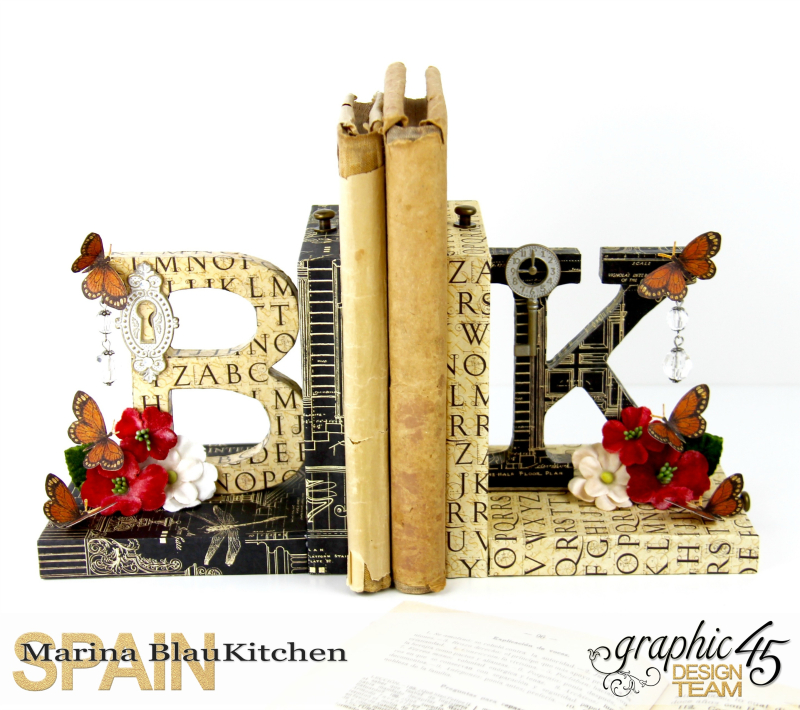 Upcycle  Bookend DIY Craft Paper Tutorial by Marina Blaukitchen Product by Graphic 45 photo 2