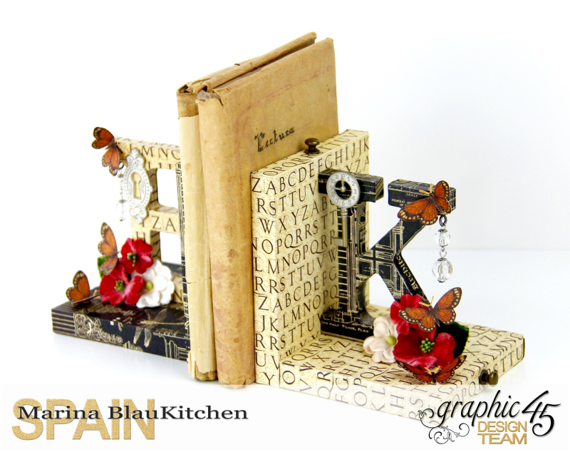 Upcycle  Bookend DIY Craft Paper Tutorial by Marina Blaukitchen Product by Graphic 45 photo 4