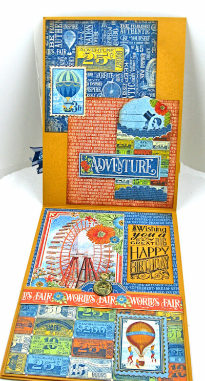 His and Her Birthday Card Tutorial, World's Fair, by Kathy Clement, Product by Graphic 45 Photo 10