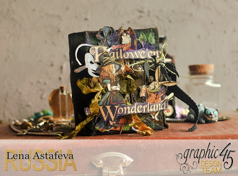 Book Box and mini album-Hallowe'en in Wonderland-Tutorial by Lena Astafeva-products by Graphic 45-Photo-1