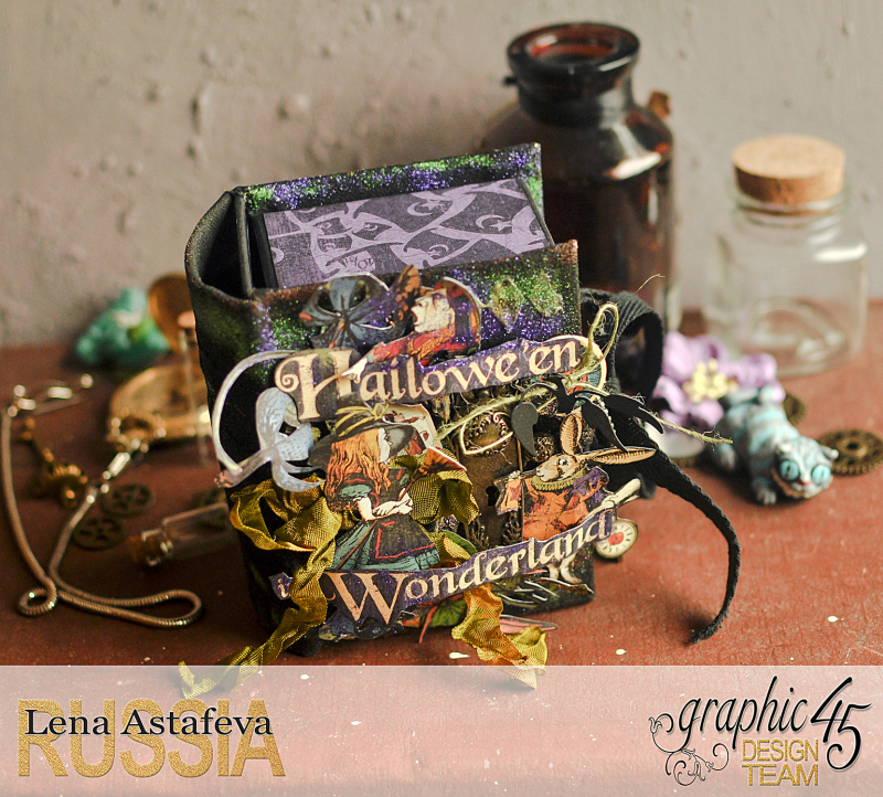Book Box and mini album-Hallowe'en in Wonderland-Tutorial by Lena Astafeva-products by Graphic 45-Photo-8