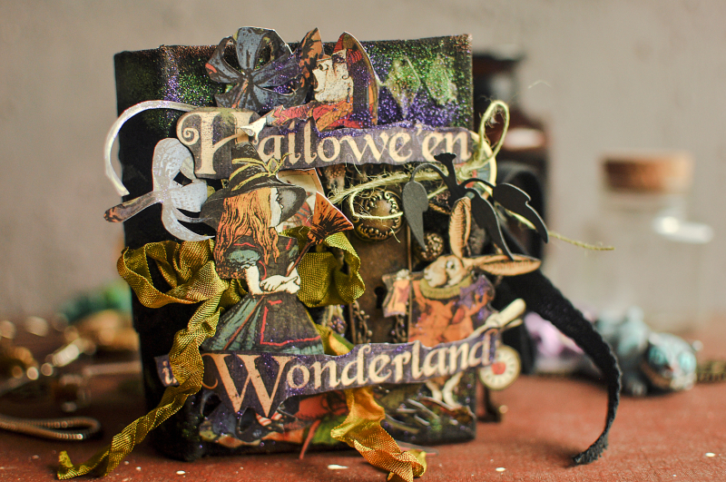 Book Box and mini album-Hallowe'en in Wonderland-Tutorial by Lena Astafeva-products by Graphic 45-Photo-5