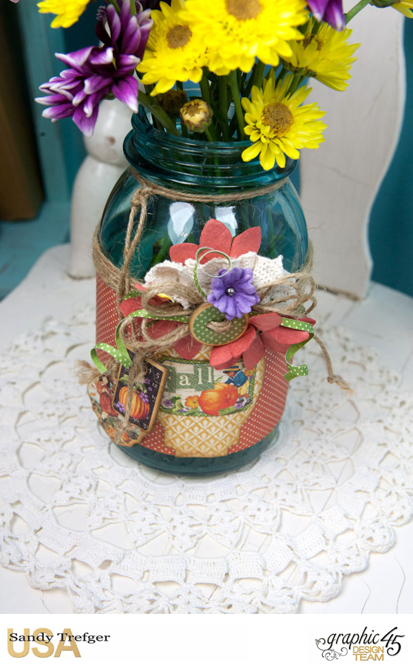 Flower Mason Jar, World's Fair, Children's Hour, by Sandy Trefger, Product by Graphic 45, Photo 005