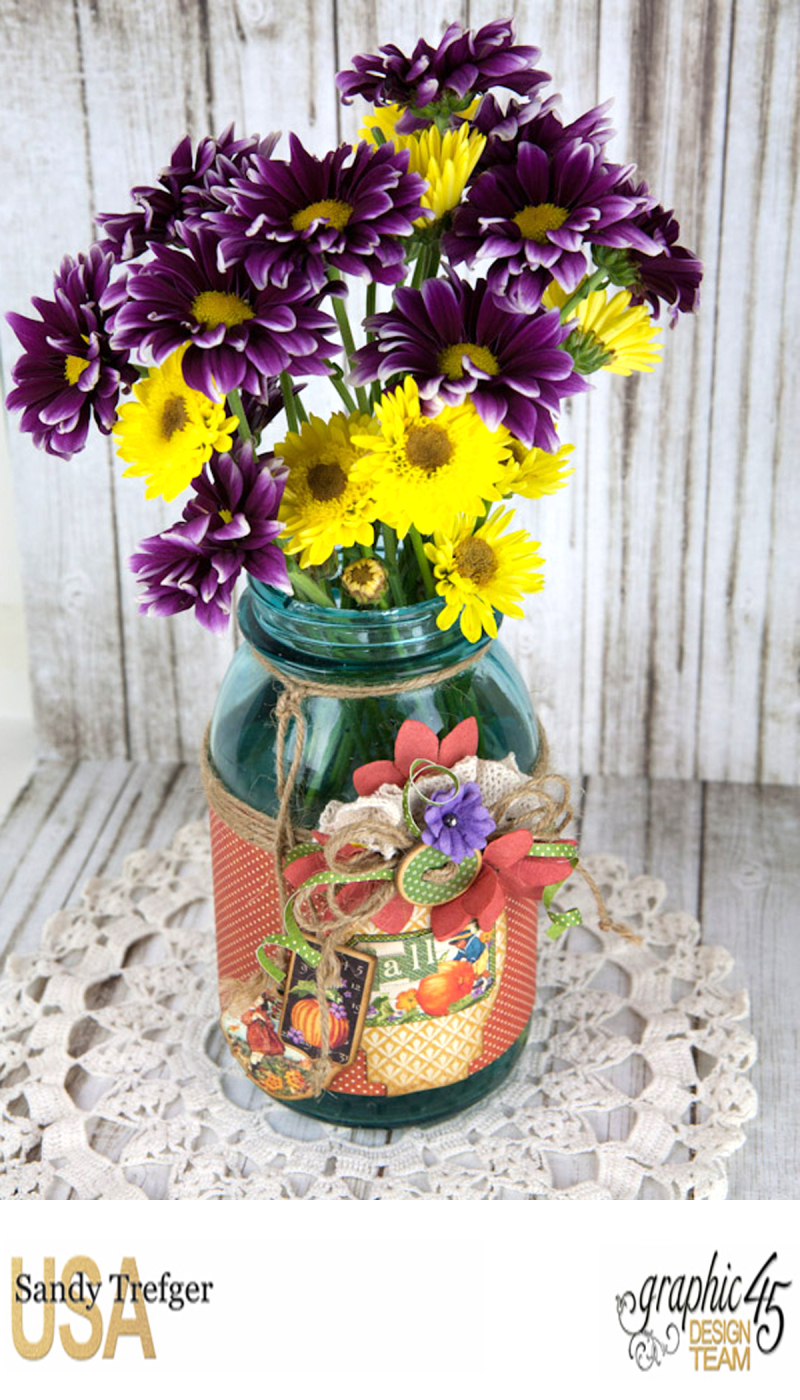 Flower Mason Jar, World's Fair, Children's Hour, by Sandy Trefger, Product by Graphic 45, Photo 003