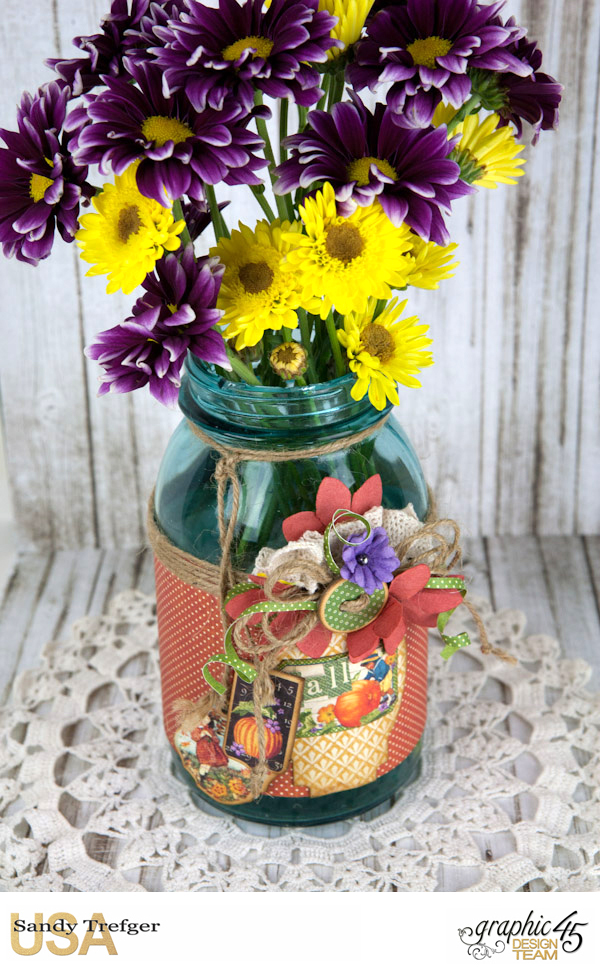 Flower Mason Jar, World's Fair, Children's Hour, by Sandy Trefger, Product by Graphic 45, Photo 002