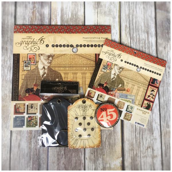 (2) Proper Gentleman 12x12, 8x8, Staples Graphic 45 Prize