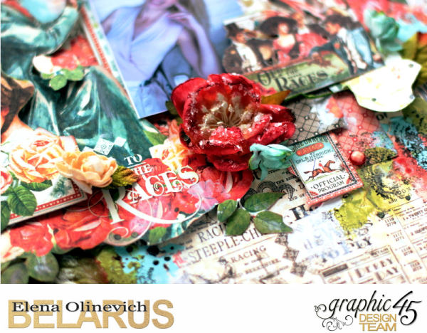 About Roses Layout, Off to the Races, by Elena Olinevich, product by Graphic45, photo05