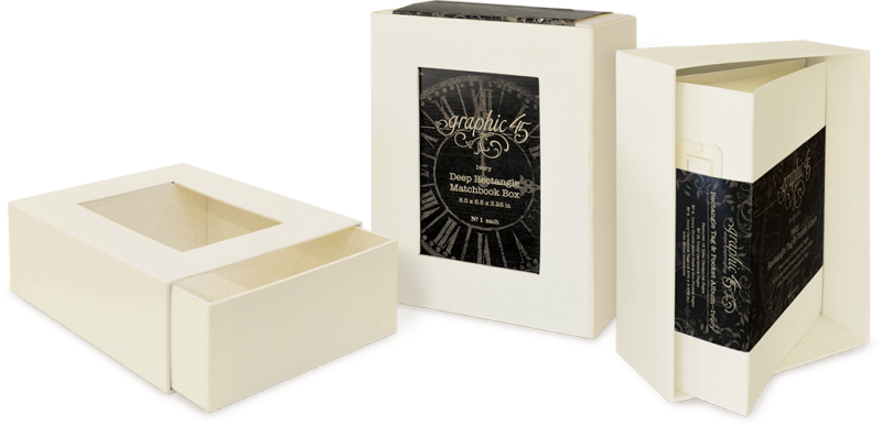 Deep Rectangle Matchbook Box from Graphic 45 in Ivory