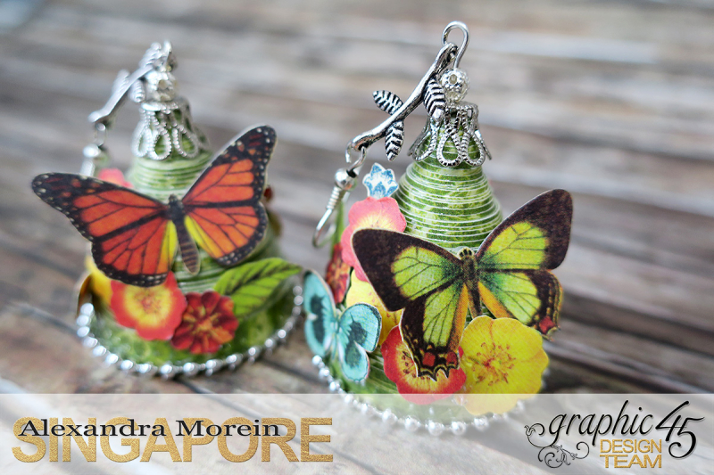 Paper Earrings, Nature Sketchbook, Project by Alexandra Morein, Product by Graphic 45, Photo 2