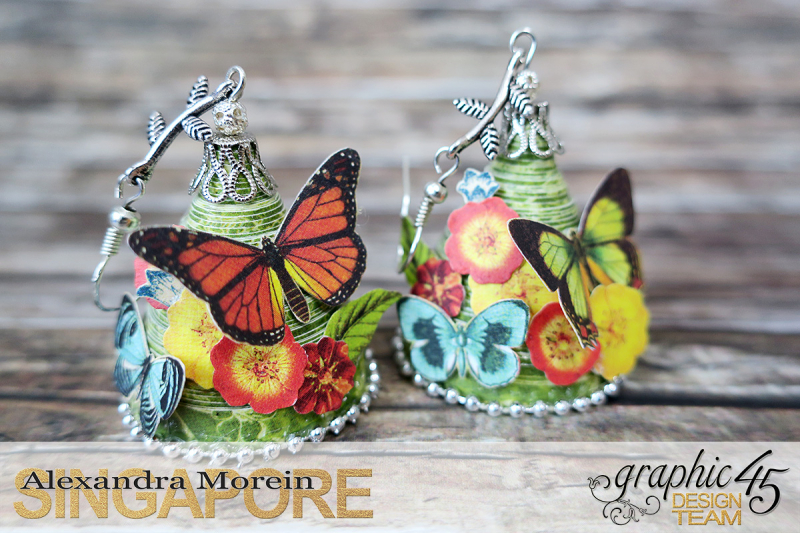 Paper Earrings, Nature Sketchbook, Project by Alexandra Morein, Product by Graphic 45, Photo 1