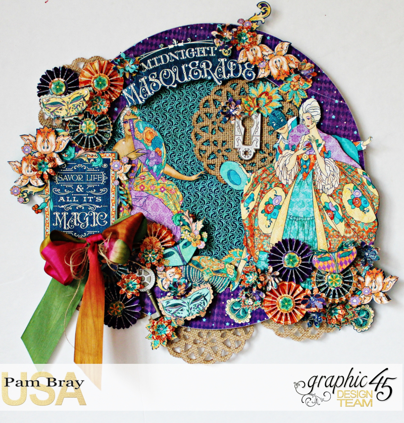Graphic 45 Masquerade Wreath by Pam Bray with Tutorial Photo 1_3659