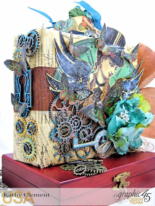 Mixed Media Steampunk Tag Album Tutorial  Steampunk Debutante  by Kathy Clement Product by Graphic 45  Photo 33