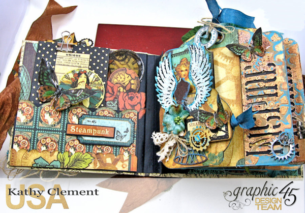 Mixed Media Steampunk Tag Album Tutorial  Steampunk Debutante  by Kathy Clement Product by Graphic 45  Photo 4