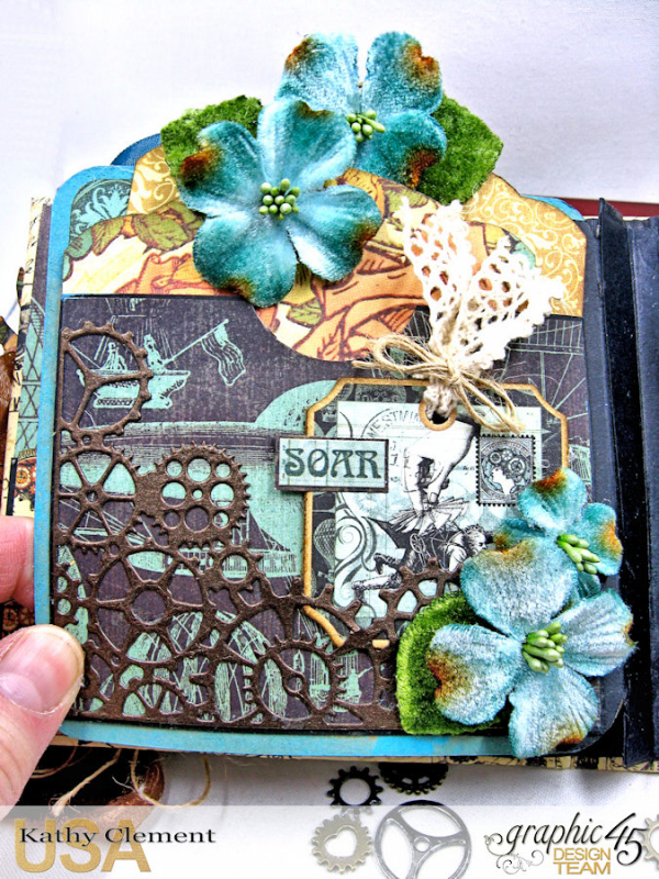 Mixed Media Steampunk Tag Album Tutorial  Steampunk Debutante  by Kathy Clement Product by Graphic 45  Photo 11