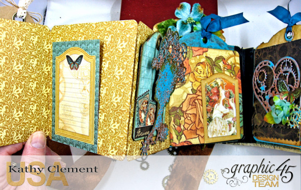 Mixed Media Steampunk Tag Album Tutorial  Steampunk Debutante  by Kathy Clement Product by Graphic 45  Photo 21