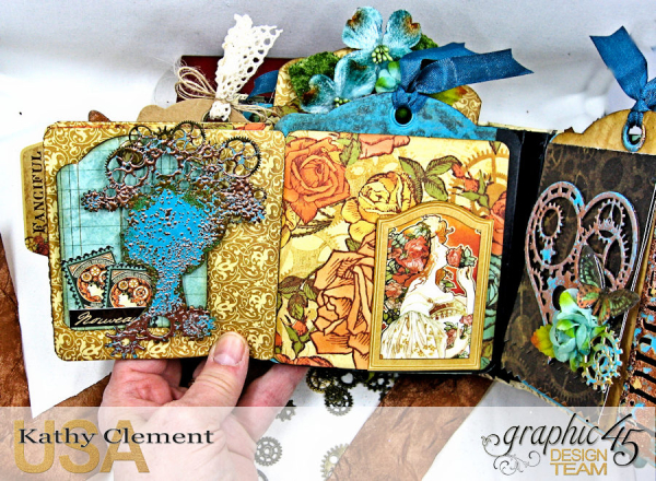 Mixed Media Steampunk Tag Album Tutorial  Steampunk Debutante  by Kathy Clement Product by Graphic 45  Photo 23