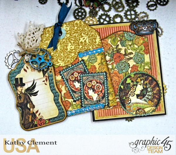 Mixed Media Steampunk Tag Album Tutorial  Steampunk Debutante  by Kathy Clement Product by Graphic 45  Photo 28